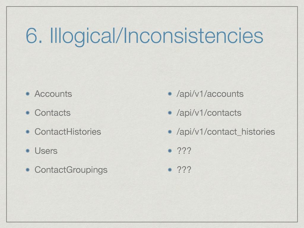 6. Illogical/Inconsistencies Accounts  Contacts...