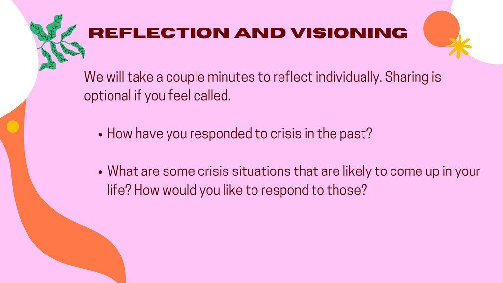 Reflection and Visioning How have you responded...