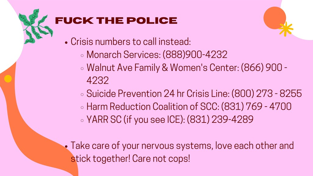 Fuck the Police Crisis numbers to call instead:...