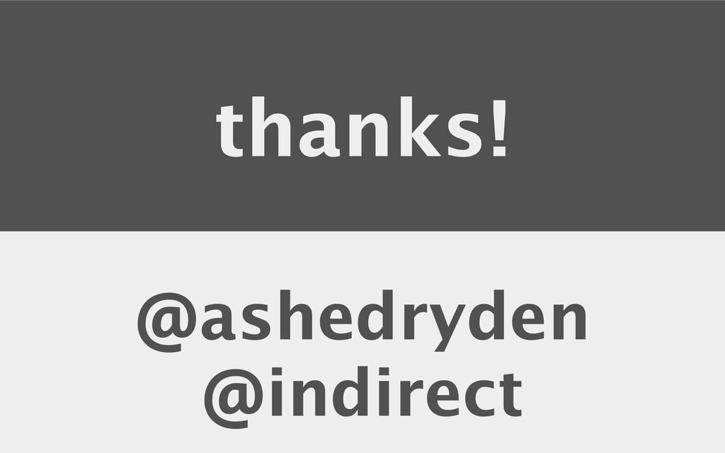 thanks! @ashedryden @indirect