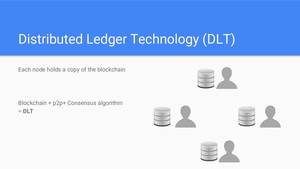 Distributed Ledger Technology (DLT) Each node h...