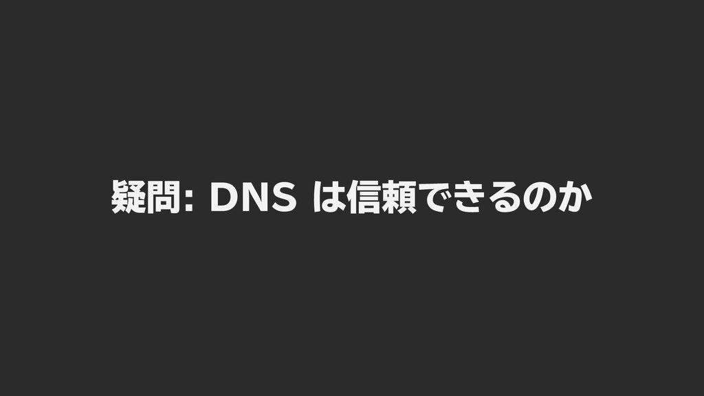 疑問: DNS は信頼できるのか