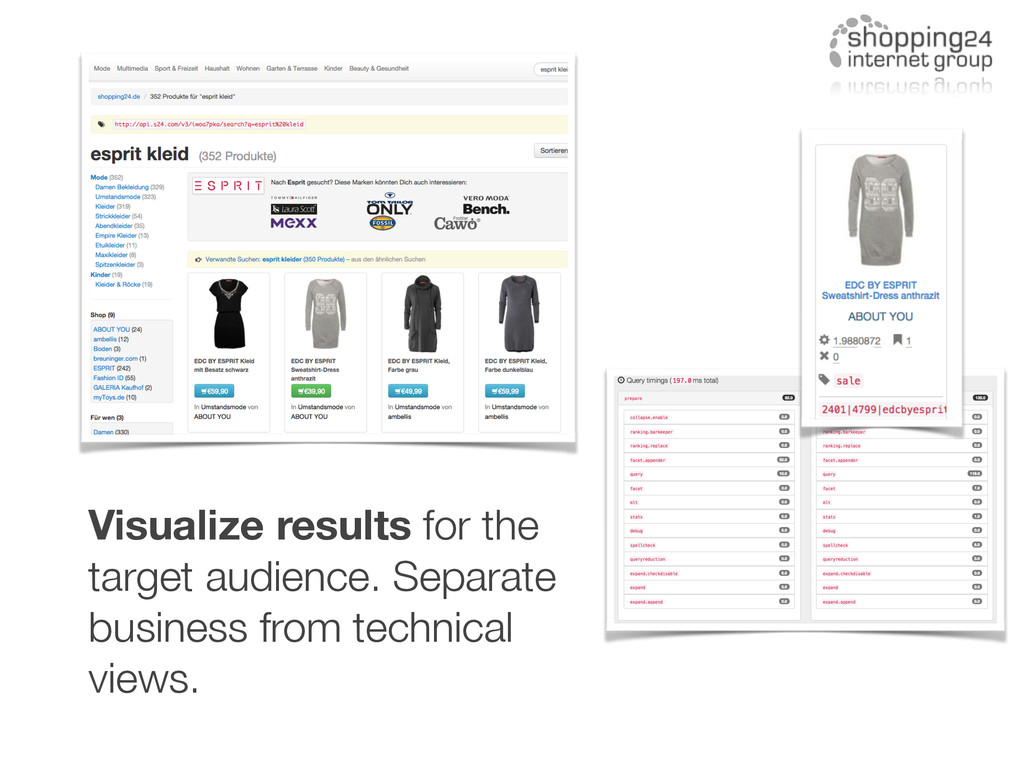 Visualize results for the target audience. Sepa...