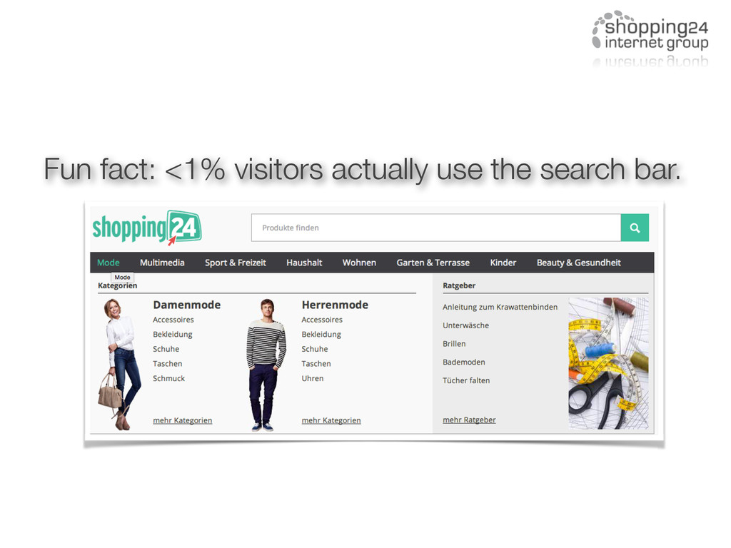 Fun fact: <1% visitors actually use the search ...