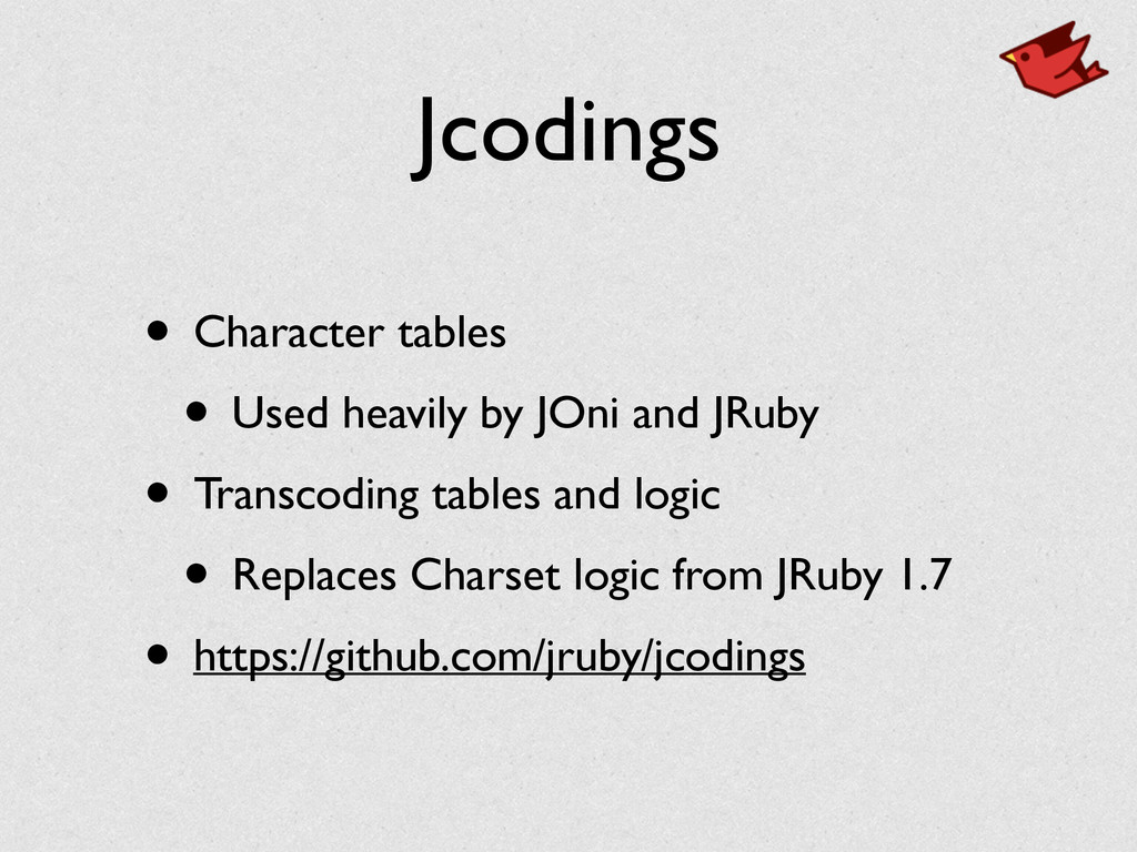 Jcodings • Character tables	 