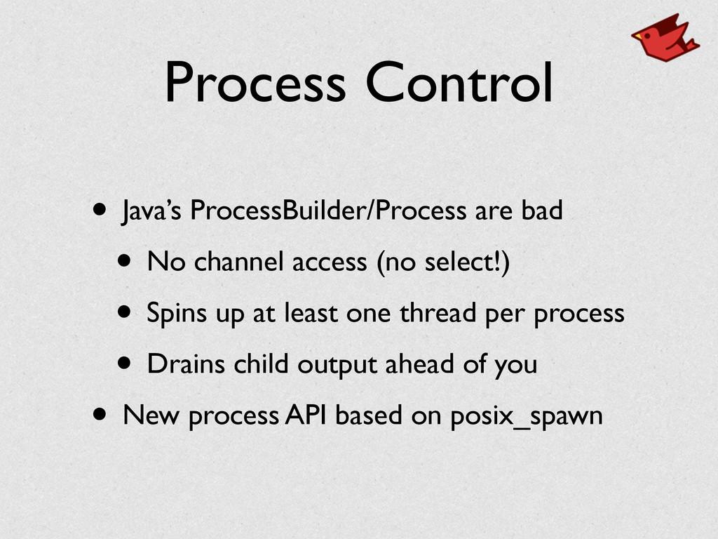 Process Control • Java's ProcessBuilder/Process...