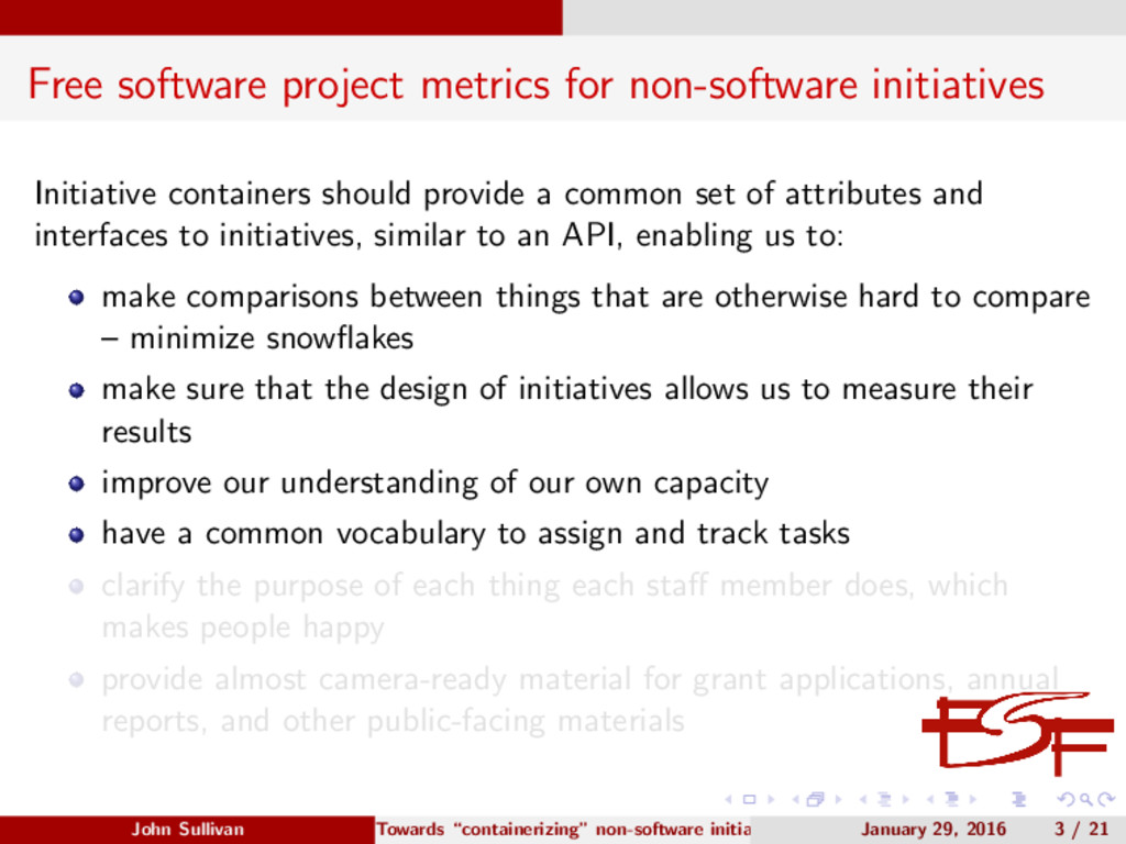 Free software project metrics for non-software ...