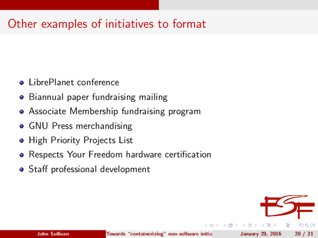 Other examples of initiatives to format LibrePl...