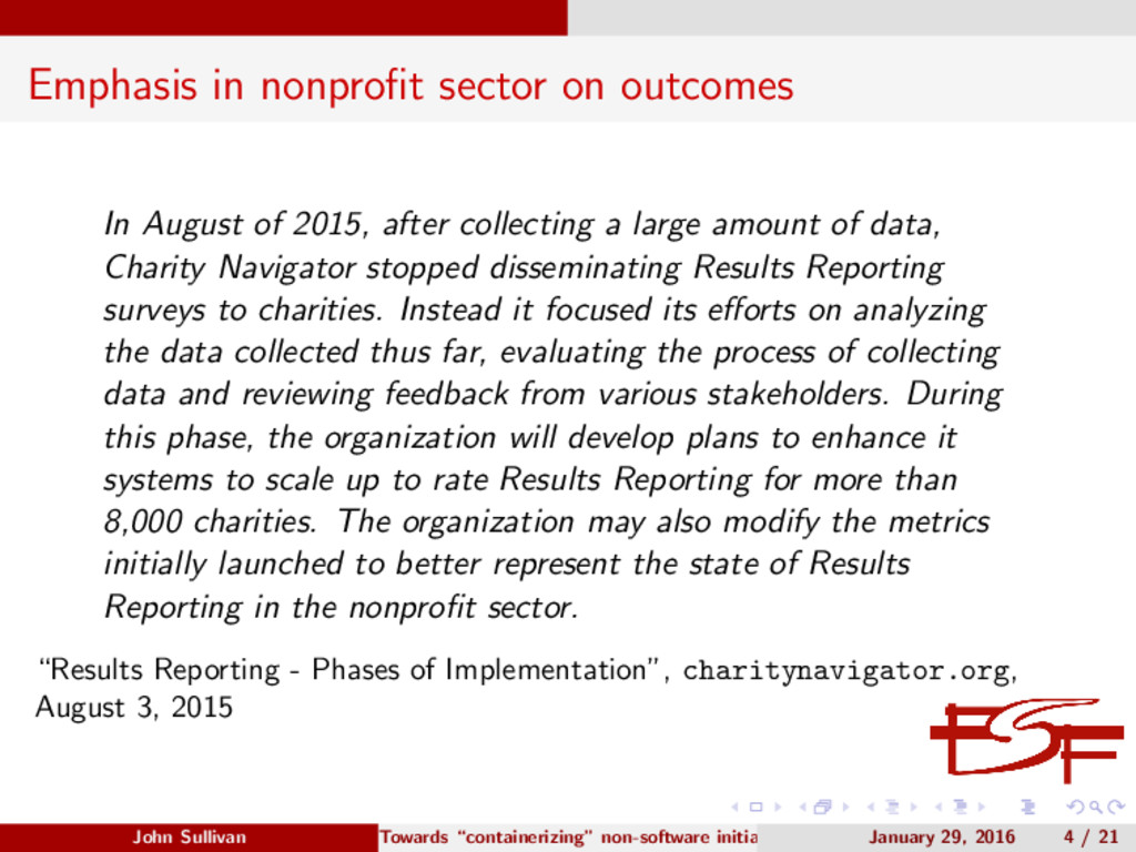 Emphasis in nonprofit sector on outcomes In Augu...