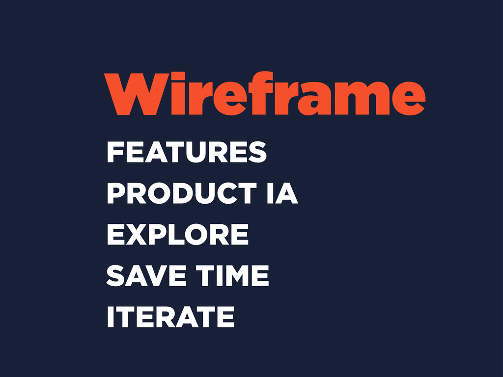 Wireframe FEATURES PRODUCT IA EXPLORE SAVE TIME...
