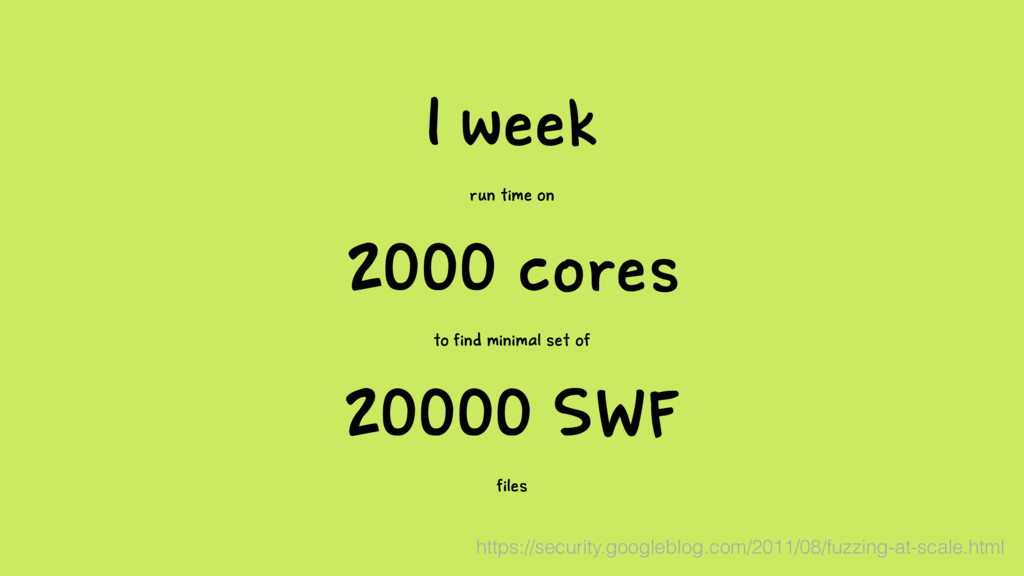 1 week run time on 2000 cores to find minimal s...