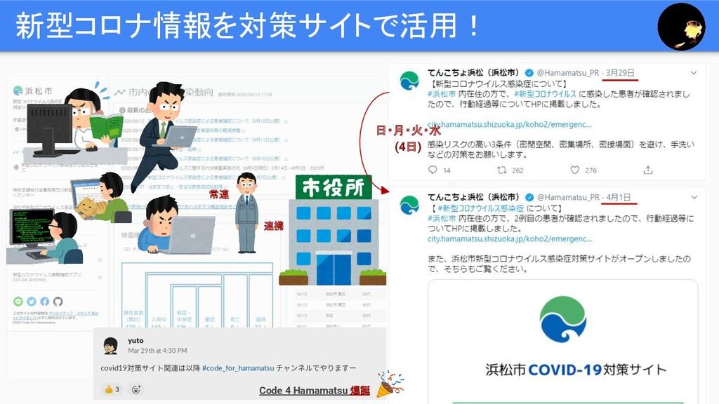 新型コロナ情報を対策サイトで活用! Code 4 Hamamatsu 爆誕 常連 連携 日・月...
