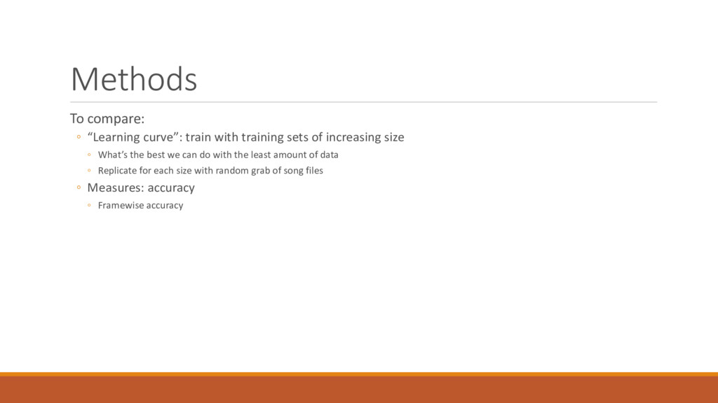 "Methods To compare: ◦ ""Learning curve"": train w..."