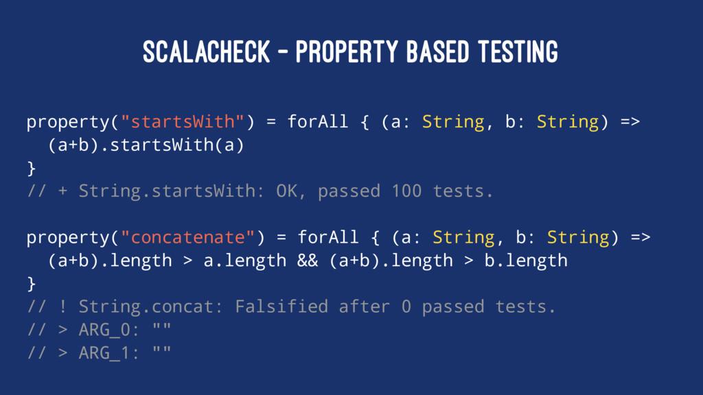 "SCALACHECK - PROPERTY BASED TESTING property(""s..."