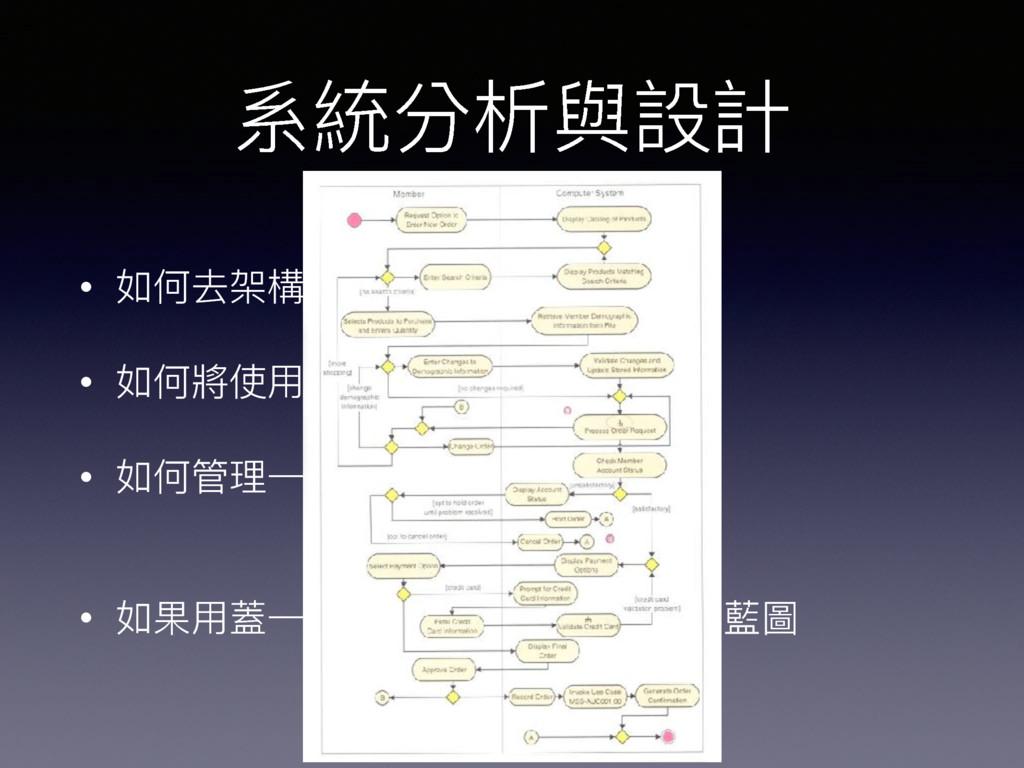 系統分析與設計 • 如何去架構⼀一個系統 • 如何將使⽤用者的需求,設計成系統 • 如何管理理...