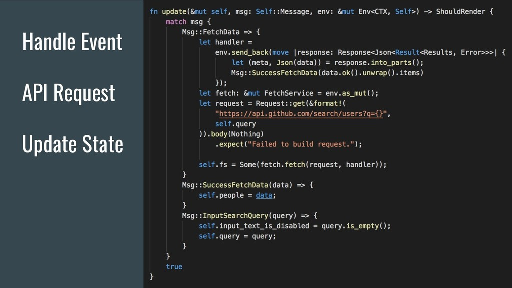 Handle Event API Request Update State
