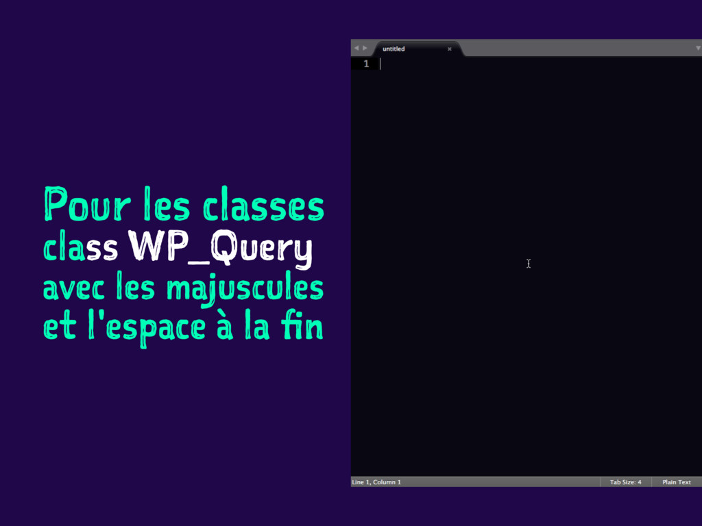 Pour les classes class WP_Query avec les majusc...