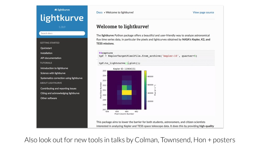 Also look out for new tools in talks by Colman,...