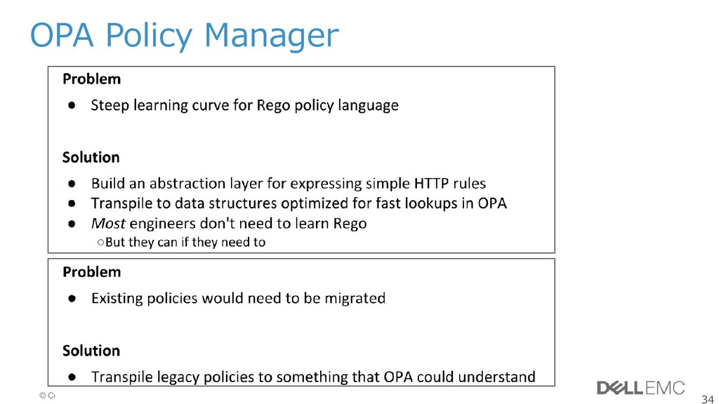34 © Copyright 2019 Dell Inc. OPA Policy Manager