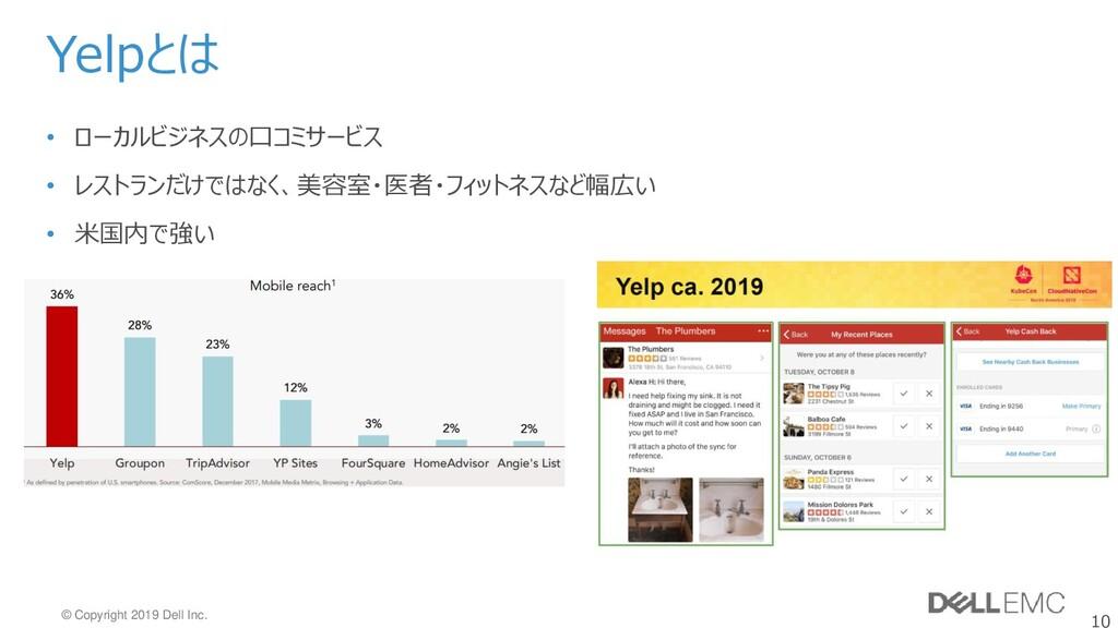 10 © Copyright 2019 Dell Inc. Yelpとは • ローカルビジネス...