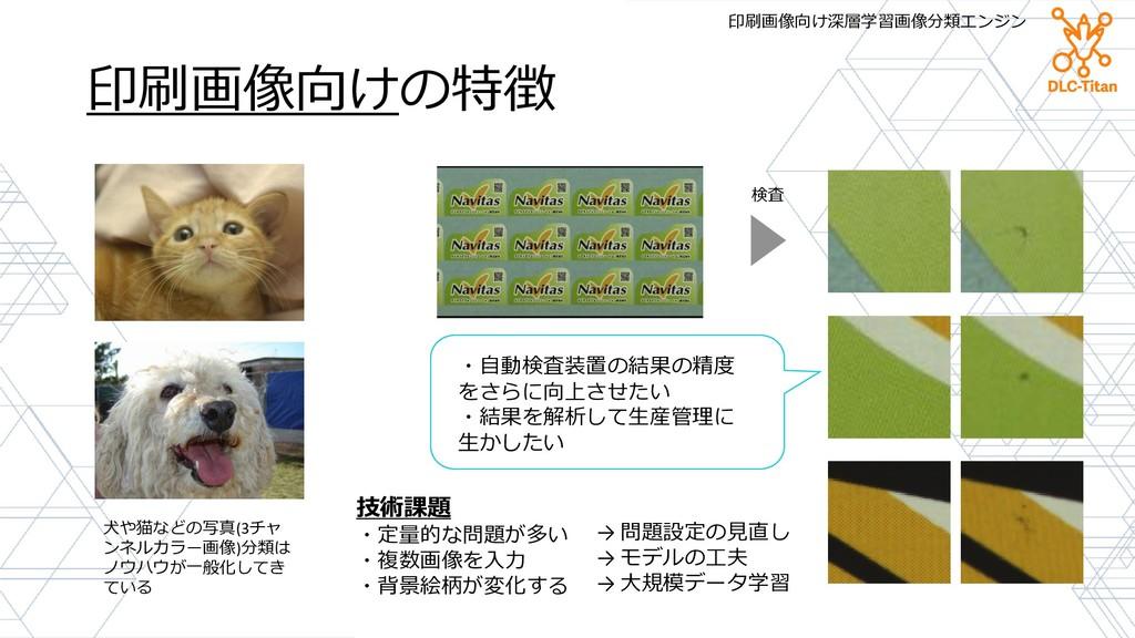 印刷画像向けの特徴 技術課題 ・定量的な問題が多い ・複数画像を入力 ・背景絵柄が変化する 犬...