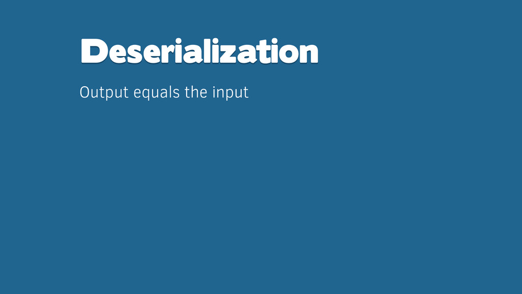 Deserialization Output equals the input