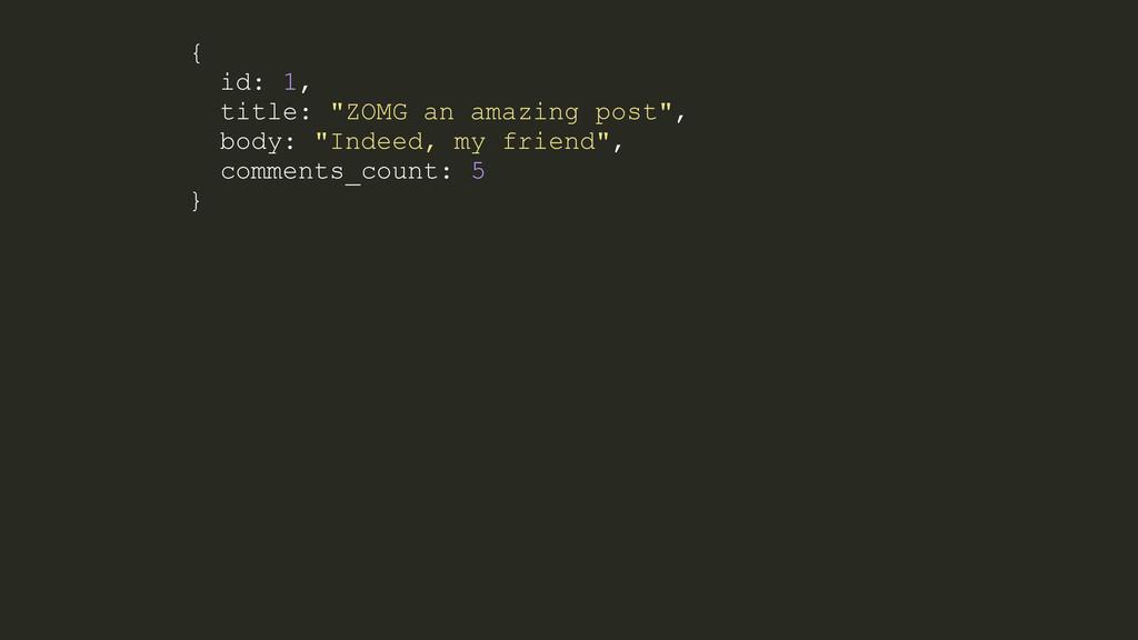 "{ id: 1, title: ""ZOMG an amazing post"", body: ""..."