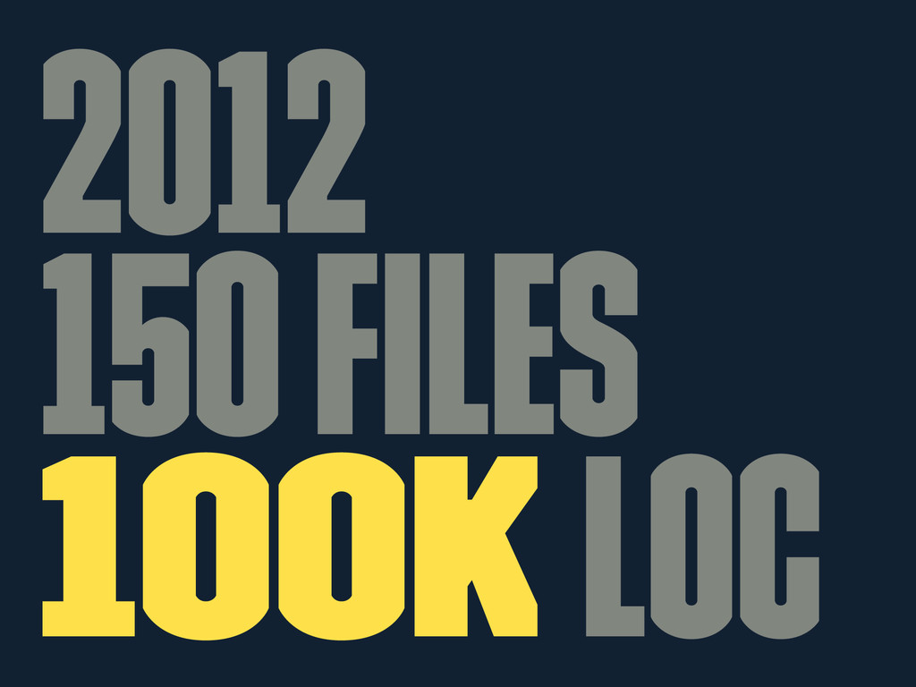 2012 150 files 100k LOC