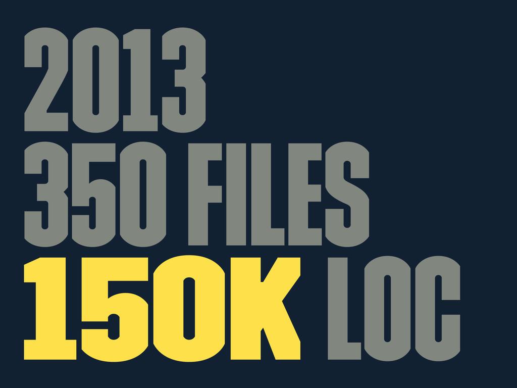 2013 350 files 150k LOC