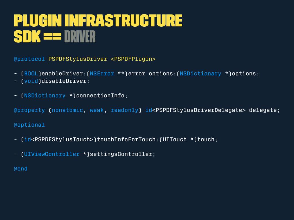 Plugin Infrastructure SDK == Driver @protocol P...