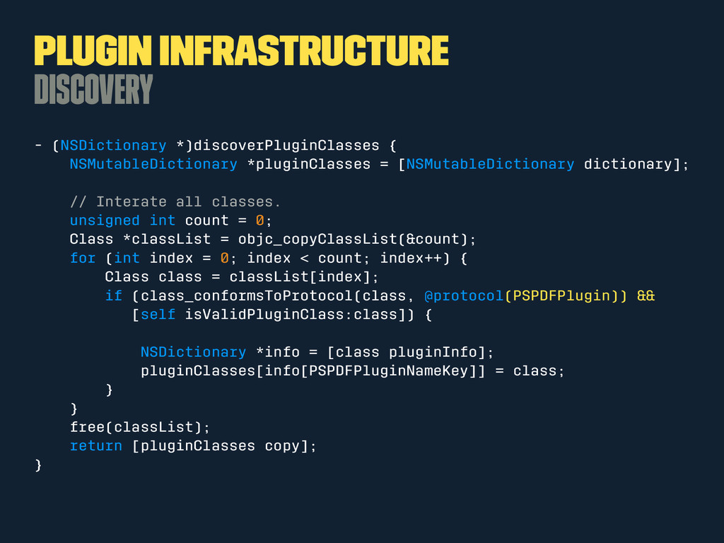 Plugin Infrastructure Discovery - (NSDictionary...
