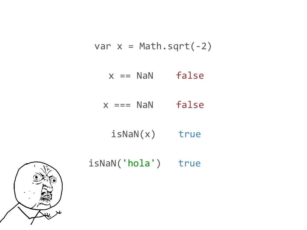 var x = Math.sqrt(-2) isNaN(x) true x === NaN f...