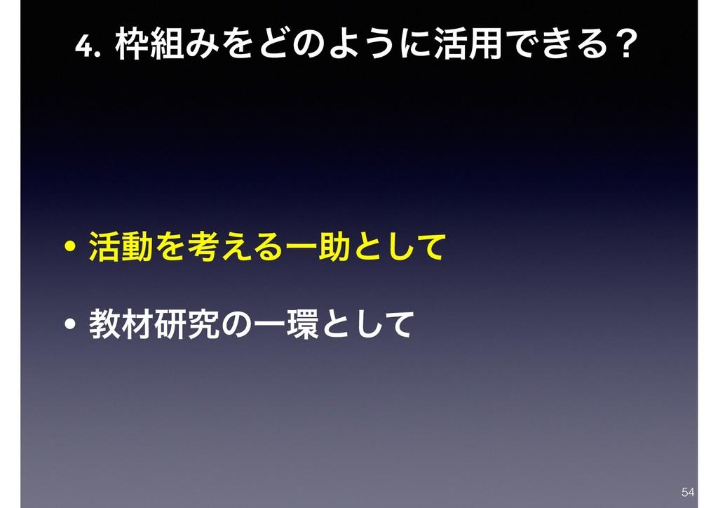 4. ΈΛͲͷΑ͏ʹ׆༻Ͱ͖Δʁ • ׆ಈΛߟ͑ΔҰॿͱͯ͠ • ڭࡐݚڀͷҰͱͯ͠ 54