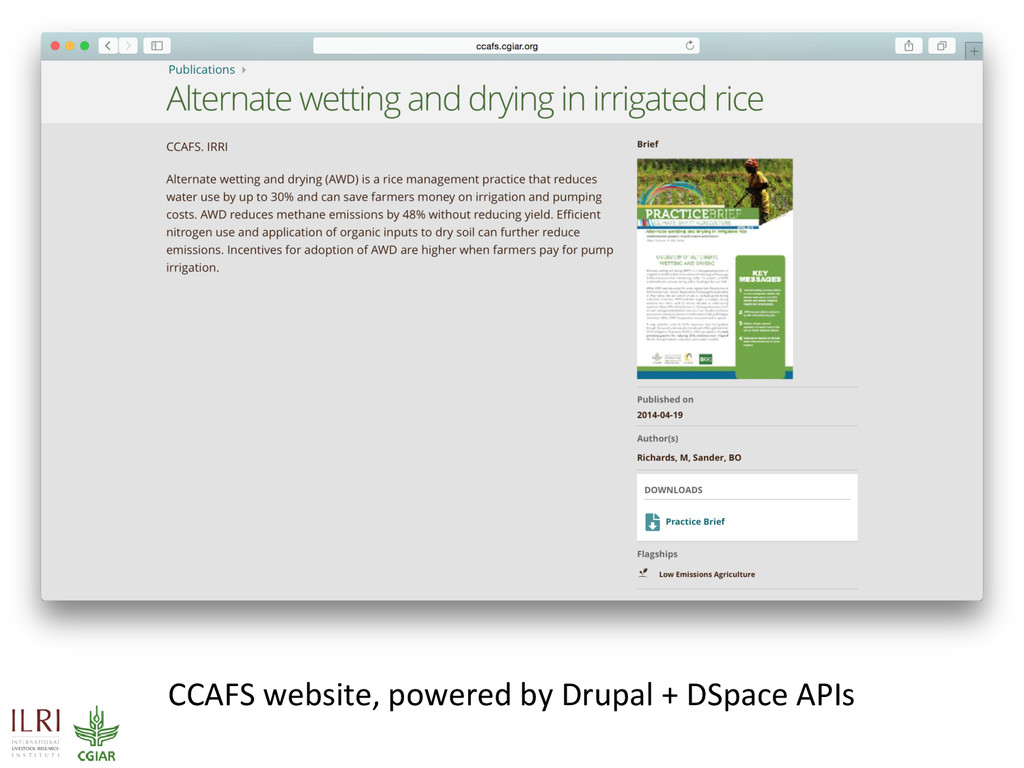 CCAFS website, powered by Drupal + DSpace APIs