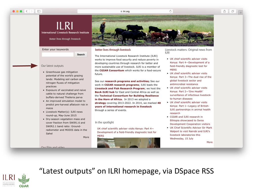"""Latest outputs"" on ILRI homepage, via DSpace R..."