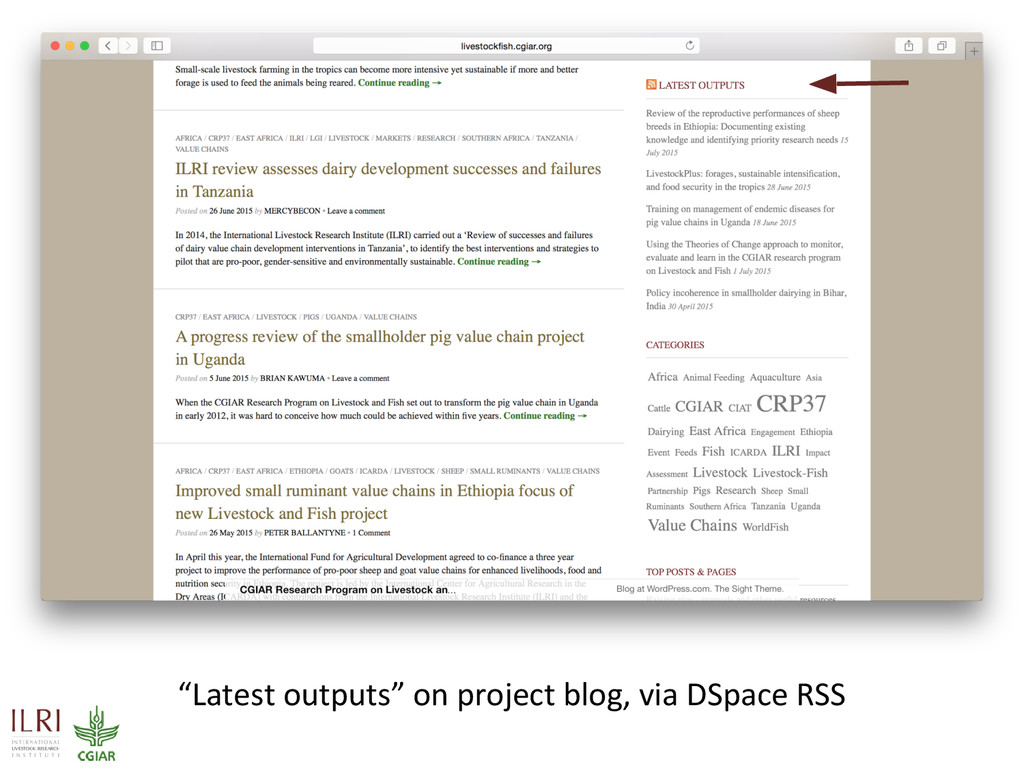 """""""Latest outputs"""" on project blog, via DSpace RSS"""