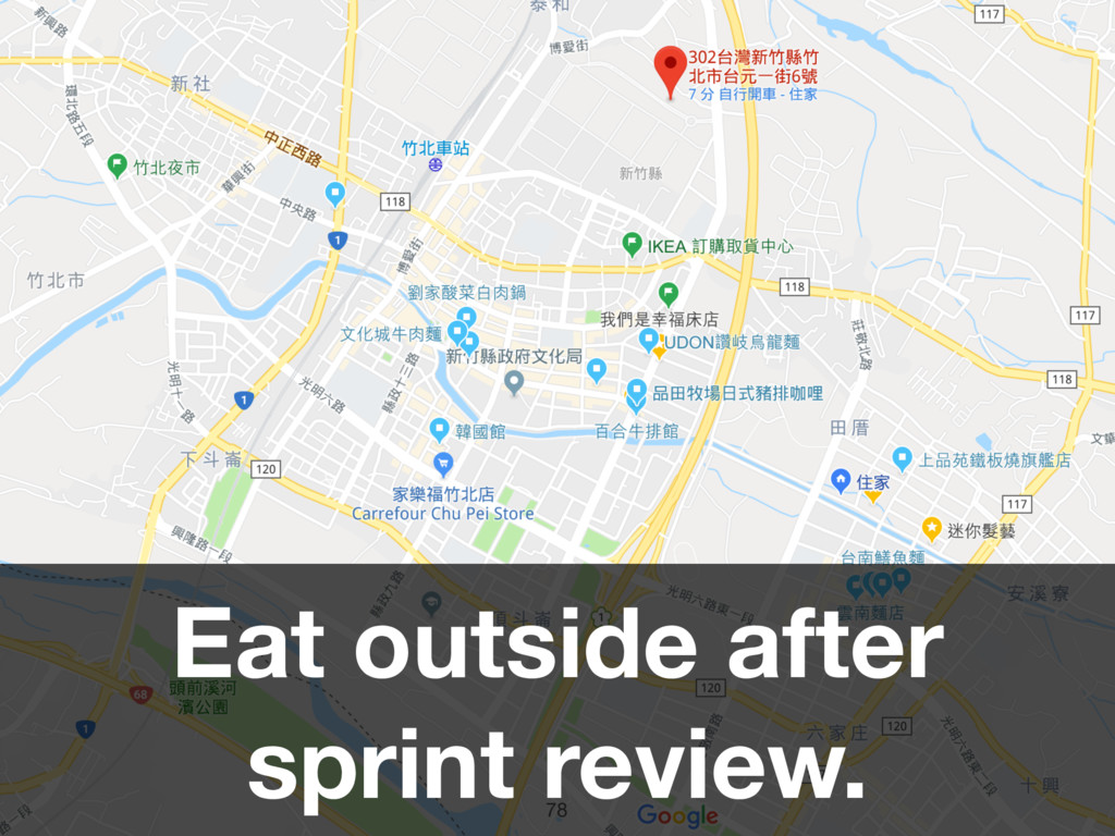 78 Eat outside after sprint review.