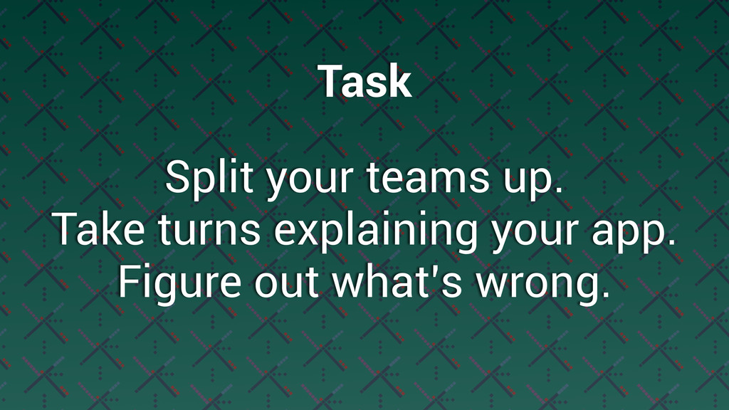 Split your teams up. Take turns explaining your...