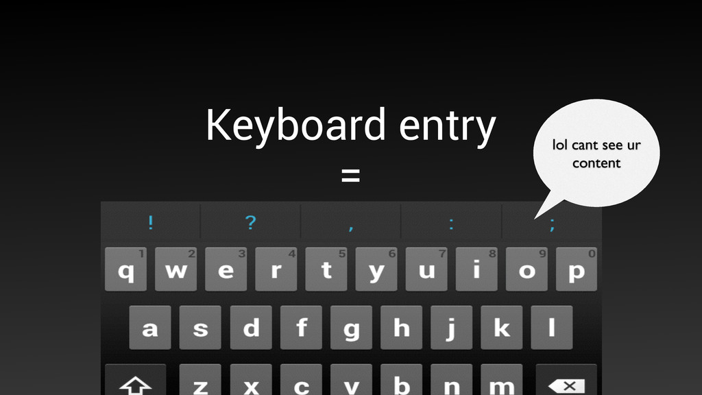 Keyboard entry  = 50% of the screen is gone l...