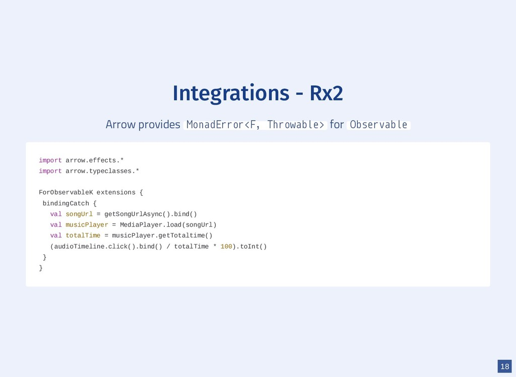 Integrations - Rx2 Arrow provides MonadError<F,...