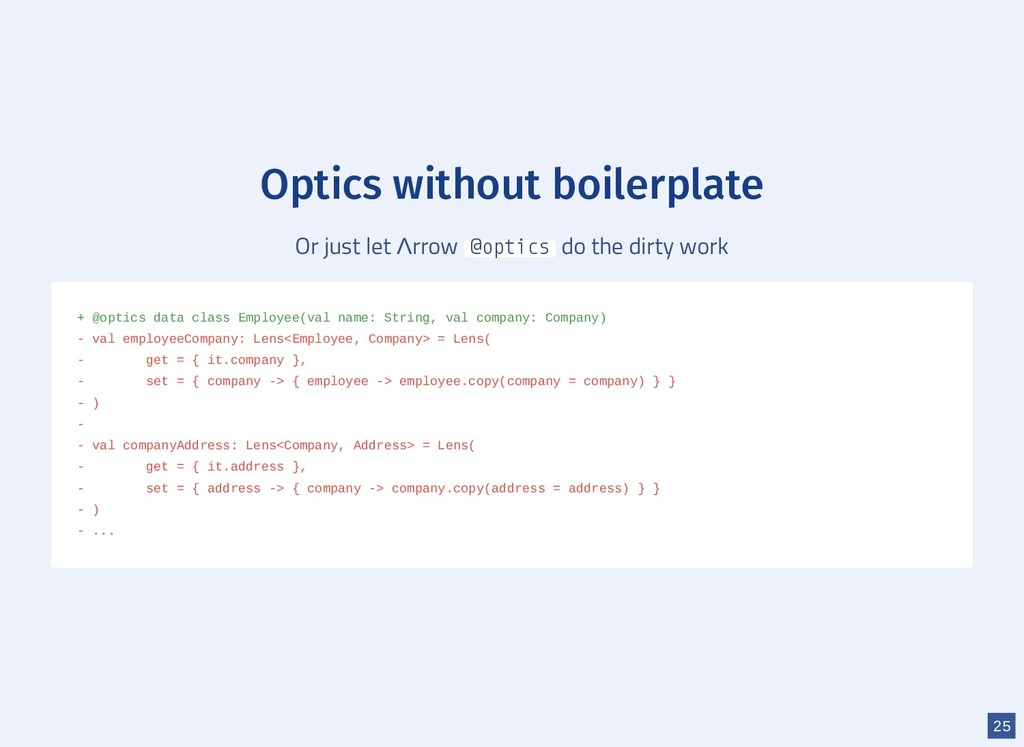 Optics without boilerplate Or just let Λrrow @o...