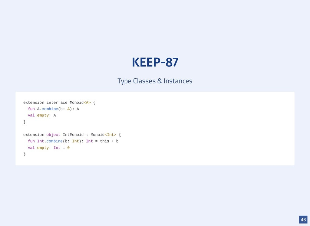 KEEP-87 Type Classes & Instances extension inte...