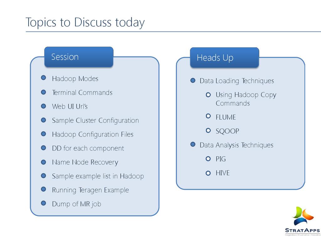 Topics to Discuss today Hadoop Modes Terminal C...