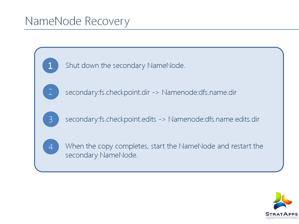 NameNode Recovery Shut down the secondary NameN...