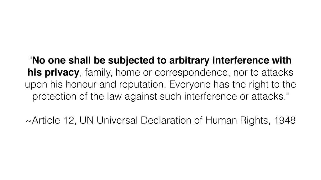 "! ""No one shall be subjected to arbitrary inter..."