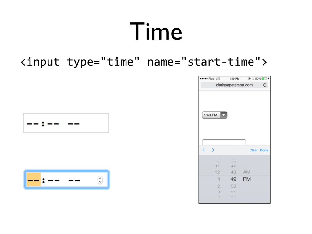 "<input'type=""time""'name=""start5time""> Time"
