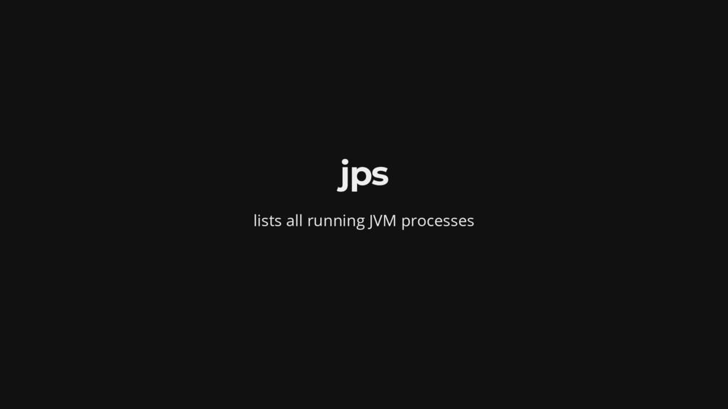 jps lists all running JVM processes
