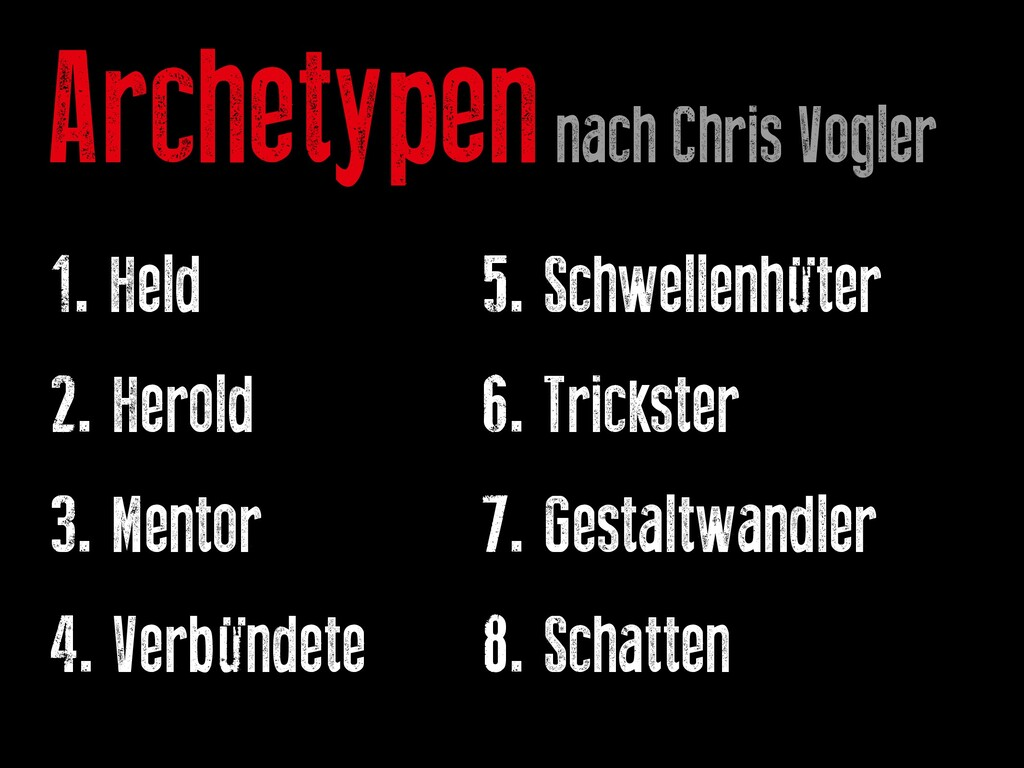 Archetypen nach Chris Vogler 1. Held			 			 		 ...