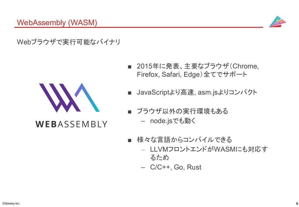 ©Gunosy Inc. WebAssembly (WASM) ■ 2015年に発表、主要なブ...