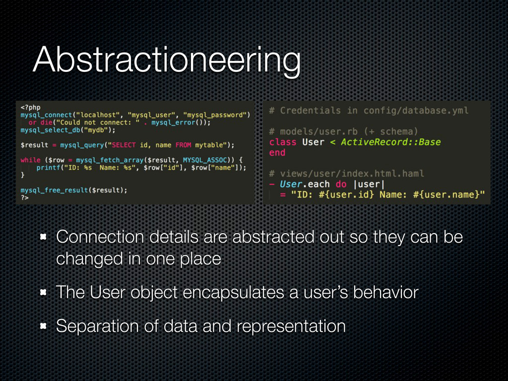 Abstractioneering Connection details are abstra...